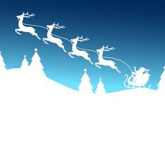 Christmas Sleigh Starting 4 Reindeers Santa Blue