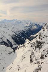 Snowbound mountains. Alps, Titlis, Engelberg, Switzerland