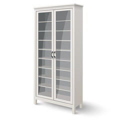 Empty bookcase with glass doors isolated on white