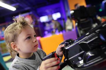 Kid playing shooting game