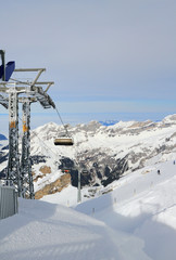 Chair lift, ski resort in Alps. Titlis, Engelberg, Switzerland