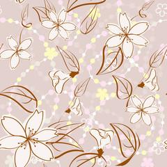 Beige  seamless floral background