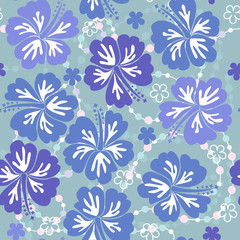 Blue seamless floral background