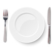 Empty plate with knife and fork isolated on a white - 73794000