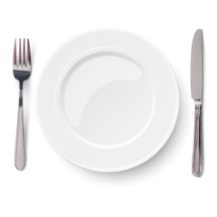 Empty plate with knife and fork isolated on a white