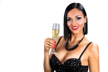 Beautiful black hair woman holding glass of champagne