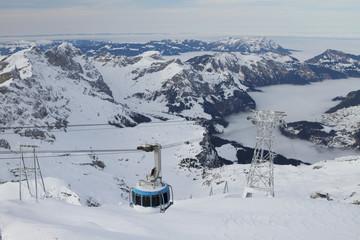Suspended ropeway in Alps. Titlis, Engelberg, Switzerland