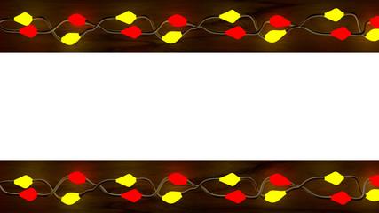 Lichterkette rot/gelb über Holzbrett