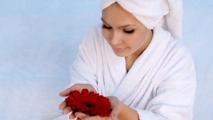 Beautiful young woman in spa. Health and beauty.