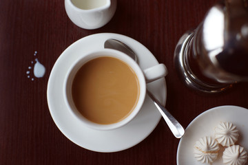 Чёрный кофе с молоком