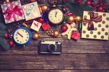 Camera, christmas gifts, gingerbread, alarm clocks
