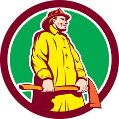 Fireman Firefighter Standing Axe Circle Retro