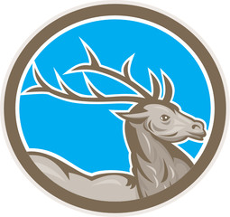 Deer Stag Buck Head Circle Retro