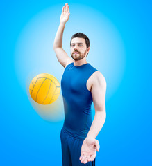 Volleyball player on blue uniform on blue background