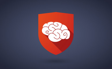 Long shadow shield icon with a brain