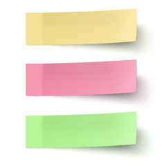 Yellow, red and green sticky notes isolated on white