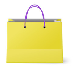 Classic shopping yellow bag with violet grips isolated