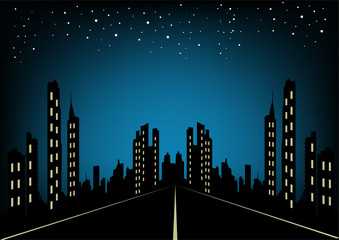 City at night landscape background