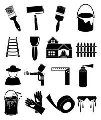 Hose paint icons set