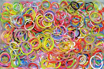 Colorful rubber bands rainbow loom
