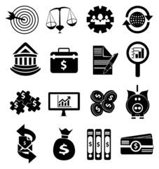 Business finance money icons set