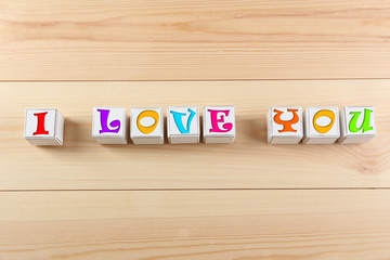 I love you spelled in wooden blocks