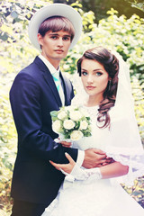 Portrait of newlyweds in a retro style