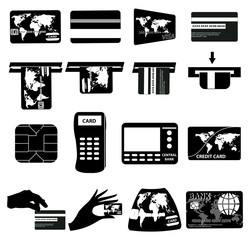 Atm credit card icons set