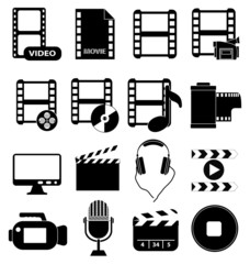 Movie media play icons set
