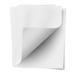 Stack of three empty white sheets of notebook paper