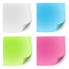 Sticky notes white, green, pink and blue isolated