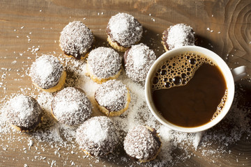Coconut muffins and a cup of coffee