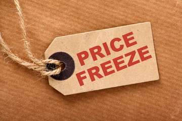 Price Freeze announcement message on a paper tag