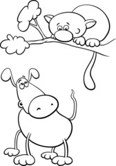 dog and cat cartoon coloring page