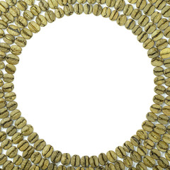 Green coffee beans spread in circle on white background