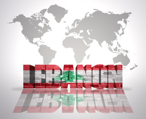 Word Lebanon on a world map background