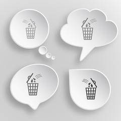 Bin. White flat vector buttons on gray background.