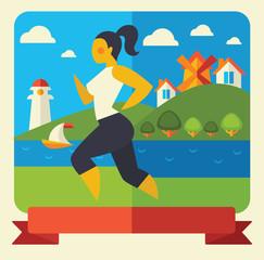 outdoor running woman