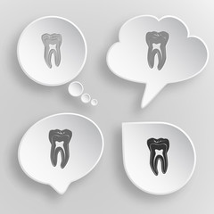Tooth. White flat vector buttons on gray background.