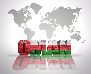 Word Oman on a world map background