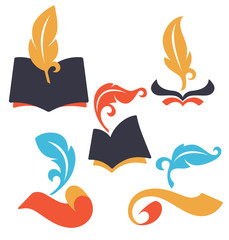old books, parchment, reading and writing symbols