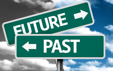 Future x Past creative sign with clouds as the background