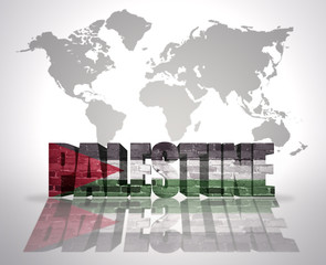 Word Palestine on a world map background
