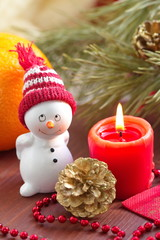 Postcard with snowman and christmas decoration
