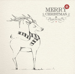 Christmas hand drawn unique reindeer illustration