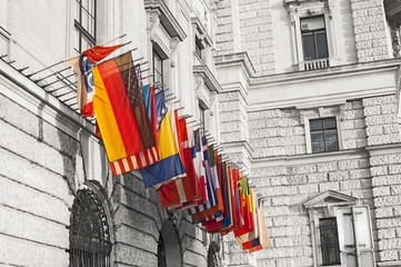 International flags at the Hofburg in Vienna, Austria
