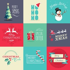 Merry Christmas flat elements illustration set