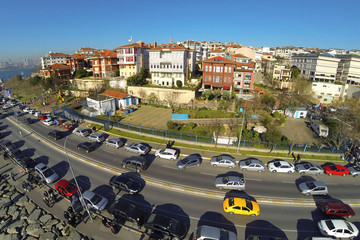 Aerial view over Sahil Yolu Street in Istanbul