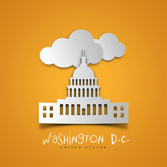 Washington D.C. United States. Yellow greeting card.