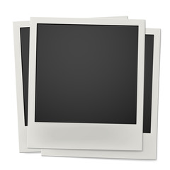 Pile of retro instant photo frames isolated on white